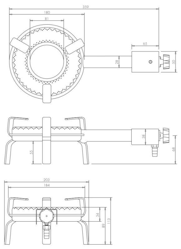 gasbrenner gaskocher t 180 4 1kw ring 18 cm f r au en. Black Bedroom Furniture Sets. Home Design Ideas
